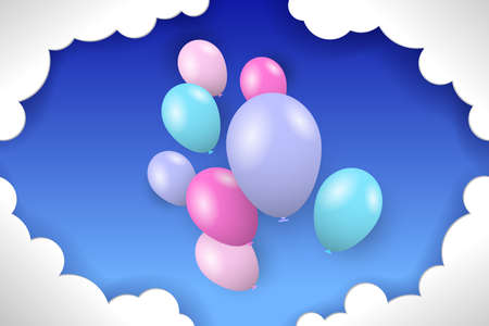 Colorful balloons and white clouds in the blue sky. Vector illustration EPS10 矢量图像