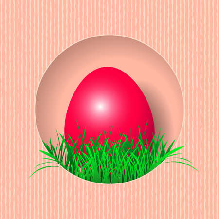 Happy Easter Background. Easter Egg and green grass in cut out paper style. Vector illustration EPS10