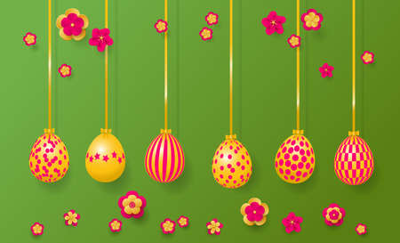 Happy Easter Greeting Card. Hanging easter eggs and flowers.