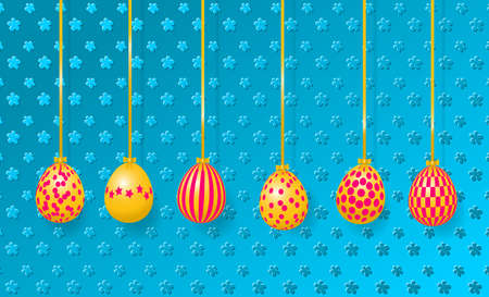 Happy Easter Greeting Card. Hanging easter eggs on the embossed background.