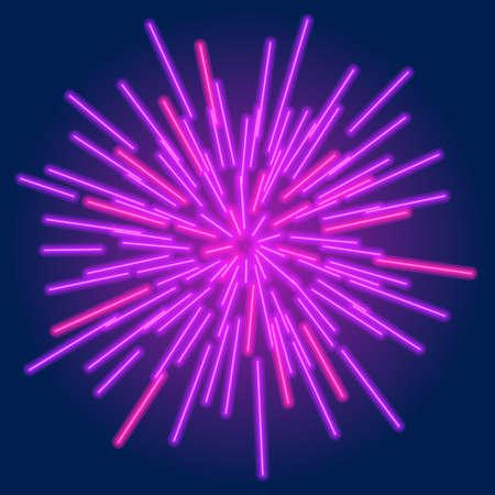 Shining rays on dark background. Holiday firework effect. Vector illustration EPS10