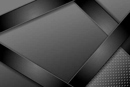 Black technology background with different textures. Brushed black metal and textured steel. EPS10