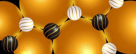 Trendy banner. Shiny black, white and golden 3D spheres. 矢量图像