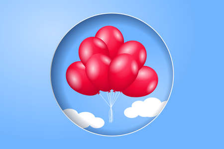 Bunches of the red balloons in the sky. Design for a party, congratulations or celebrations. 矢量图像