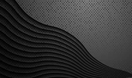 Black relief background with wavy pattern. Vector EPS10