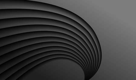 Abstract relief background. Black surface and wavy pattern. 矢量图像