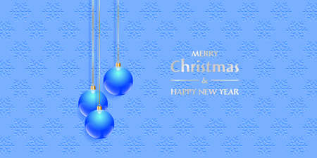 Christmas and Happy New Year greeting card. Blue Christmas balls on the falling snowflakes background