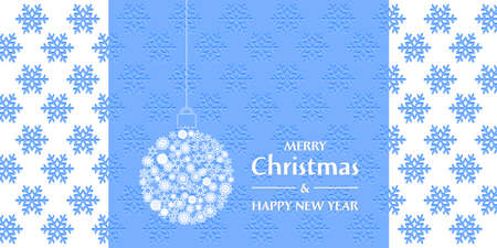 Christmas and New Year greeting card. Lace Christmas ball on the embossed background with snowflakes.