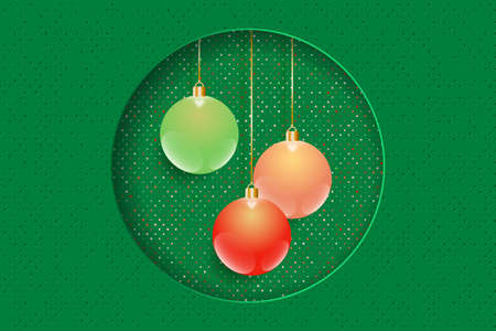 Christmas and New Year greeting card. Color christmas balls in the round frame. Vector EPS10 矢量图像