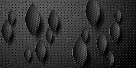 Geometric layered background. Paper shapes on the black embossed background. 矢量图像