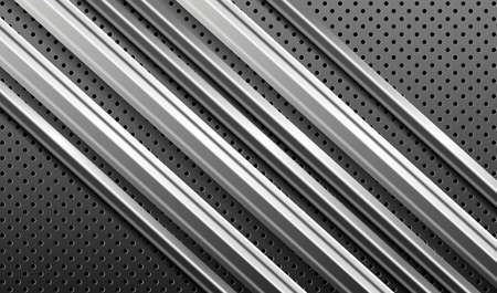 Gray relief background with 3d metallic stripes. 矢量图像