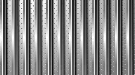 Industrial background. Silver surface with different textures. Perforated metal and brushed steel. EPS10