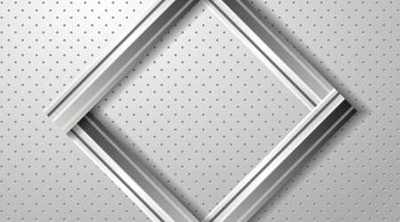 Abstract geometric background. Silver metallic frame on the gray relief background. Vector EPS10