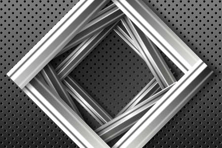Abstract geometric background. Silver metallic frame on the black relief background.