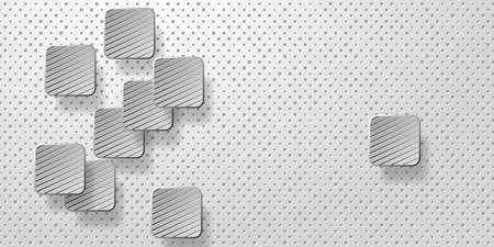 Geometric layered background. Paper shapes on the white embossed background.