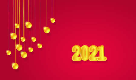 Happy New 2021 Year. Golden numbers 2021 and golden decorations. New Year 2021 greeting card. Vector 矢量图像