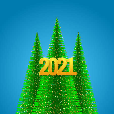 Happy New Year greeting card. Green fir trees and and Golden 2021 numbers.