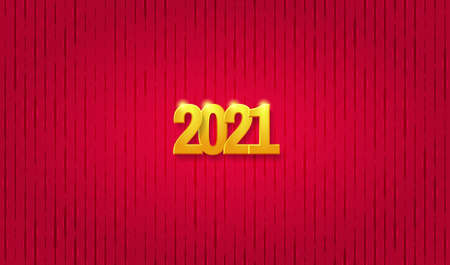 Happy New Year 2021 greeting card. Golden numbers 2021 on the red relief background. Vector illustration 矢量图像