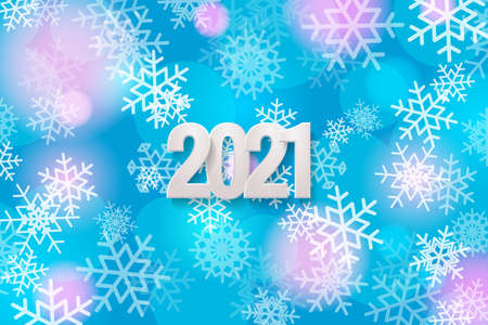 Happy New Year 2021 greeting card. White numbers 2021 on the background with snowflakes. Vector illustration