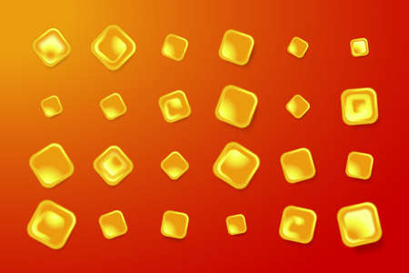 Red festive banner with golden objects. Vector