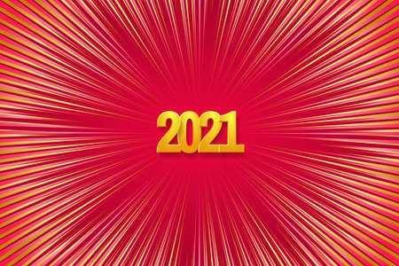 Happy New Year 2021 greeting card. Golden numbers 2021 on the firework background. Vector illustration