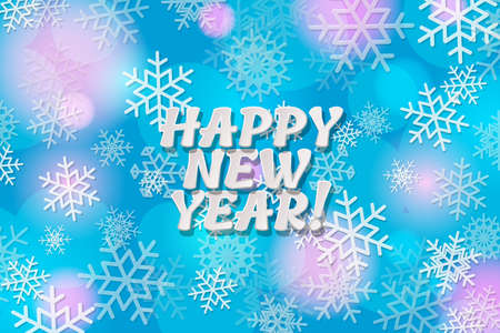 Happy New Year holiday illustration. Happy New Year paper cut out text on the background with snowflakes. Vector illustration 矢量图像