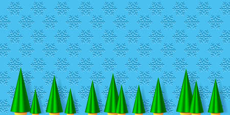 Wnter holiday illustration. Green fir trees and the snowflakes background. EPS10