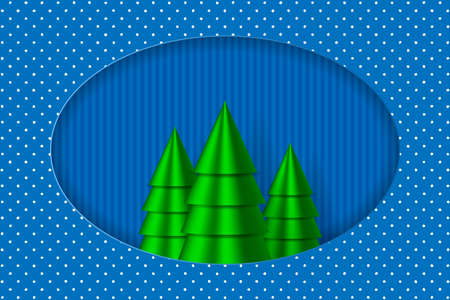 Winter holiday illustration. Christmas trees in paper cut out style. EPS10. EPS10 矢量图像