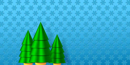 Wnter holiday illustration. Christmas trees and the snowflakes background. EPS10