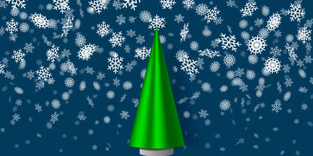 Wnter holiday illustration. Green fir tree and the snowflakes background. EPS10
