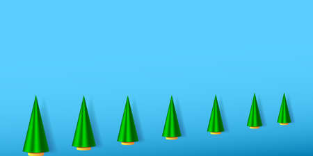 Wnter holiday illustration with green Christmas trees. EPS10
