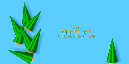 Wnter holiday illustration. Christmas trees composition on the blue background. EPS10 矢量图像