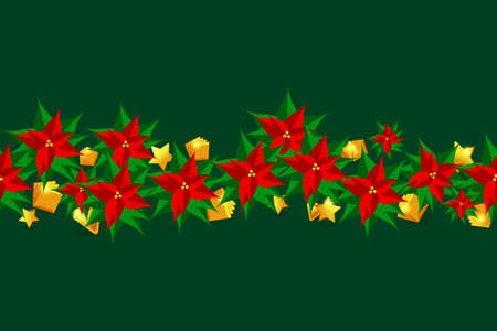 Horizontal seamless pattern with christmas star flowers and golden decorations.