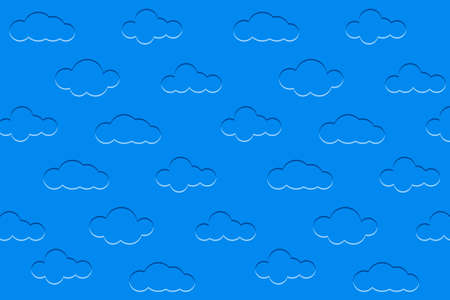 Background with clouds. Embossed clouds in the blue sky. Vector illustration