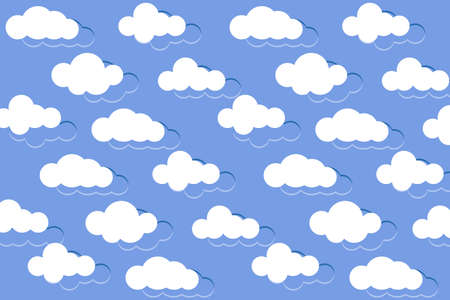 Background with clouds. White clouds in the blue sky. Vector illustration
