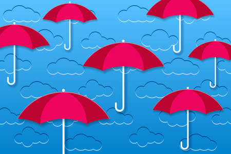 Background with clouds. Embossed clouds in the blue sky and red umbrellas. Vector EPS10