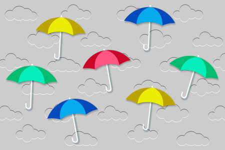 Background with clouds. Embossed clouds in the blue sky and color umbrellas. Vector EPS10