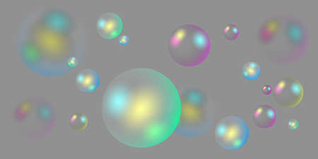 Transparent soap water bubbles. Vector illustration