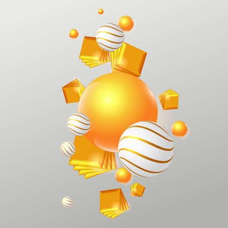 Festive levitating composition. White and gold spheres and golden cubes. Vector EPS10 矢量图像
