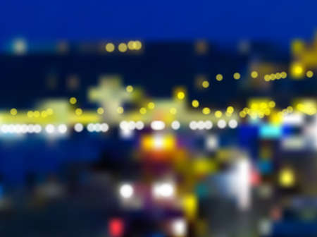 Night city blur vector background. Blurred lights, traffic and illuminated bridge.