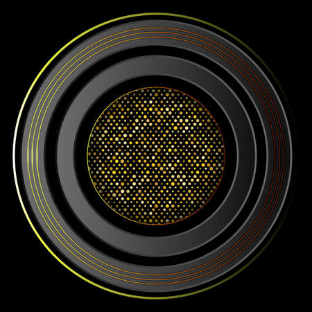 Multilayered dark round frame. 3D layers and golden glitter. Vector illustration EPS10 矢量图像