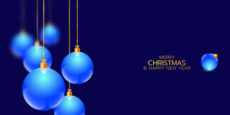 Merry Christmas and Happy New Year illustration. Winter holiday vector illustration. Festive composition with blue glass christmas balls 矢量图像