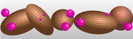 Abstract composition with pink and bronze 3D objects. Levitation spheres in the space. Vector 矢量图像