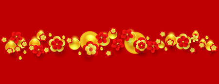 Horizontal border with red paper cut flowers and golden decorations. Vector illustration Illusztráció