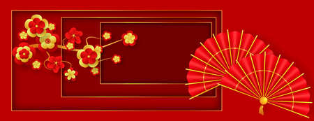 Oriental Holiday Lunar New Year. Traditional red hand fans and flowering branch. Decor for Oriental Holiday Lunar New Year