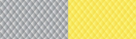 Abstract geometric banner in trendy colors of the 2021 year .. Convex rhombuses gray and yellow background. Illuminating and Ultimate Gray colors
