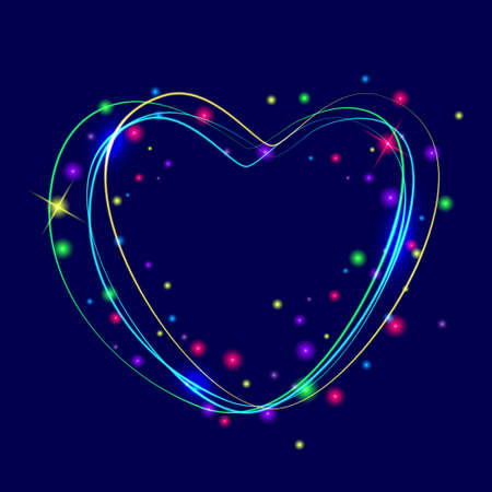 Neon glowing heart sign. Vector illustration EPS10