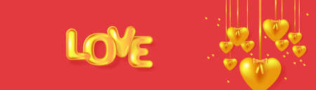 Golden hearts garland and metallic text Love. Holiday banner for Valentine's day, Wedding, Mother's Day. Vector EPS10 Illusztráció