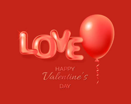 Red balloon and 3D text Love. Valentine's day greeting card. Vector EPS10