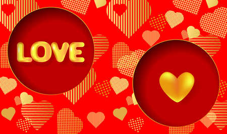 Greeting card for Valentine's day, Wedding, Mother's Day with golden 3D text Love and heart.